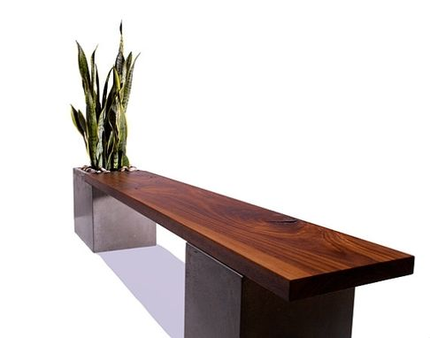 Custom Made Modern Concrete And Wood Planter Bench By Tao