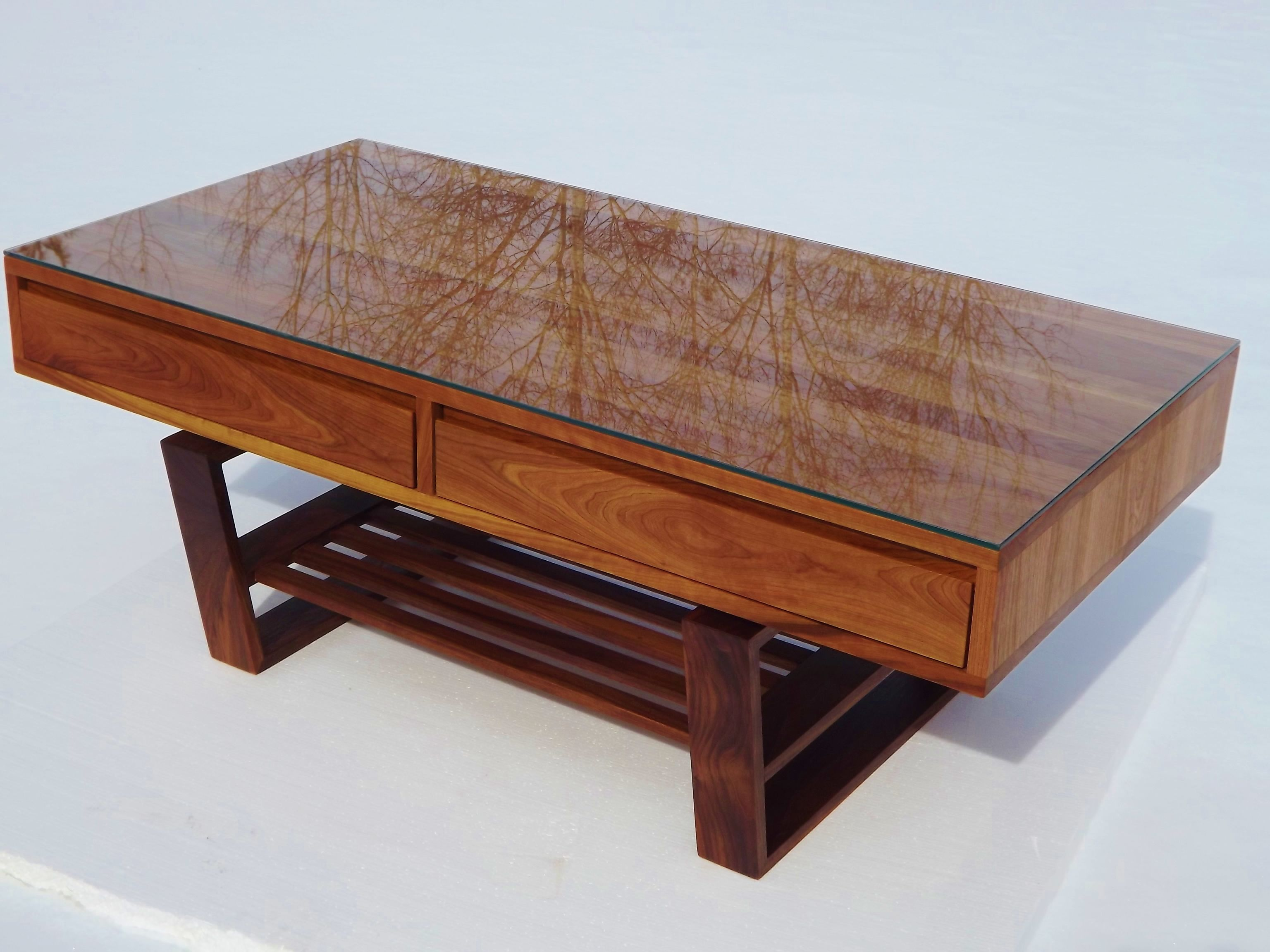 Custom made mid century modern styled coffee table in for Modern cherry coffee table