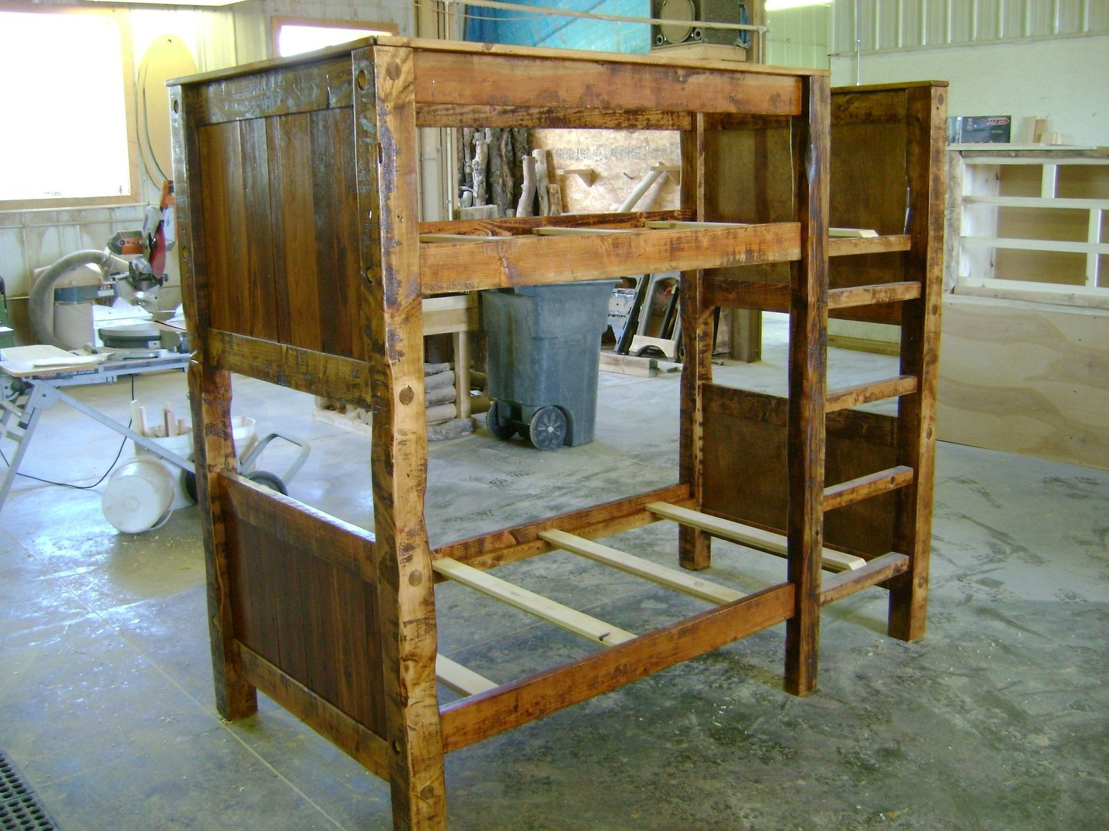 Hand made twin on twin reclaimed barnwood bunk bed by ireland 39 s wood shop - Bunk cot beds for twins ...