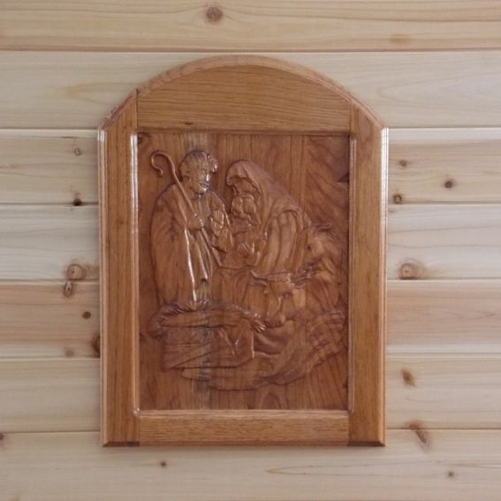 Hand made carved wood nativity scene wall hanging cherry