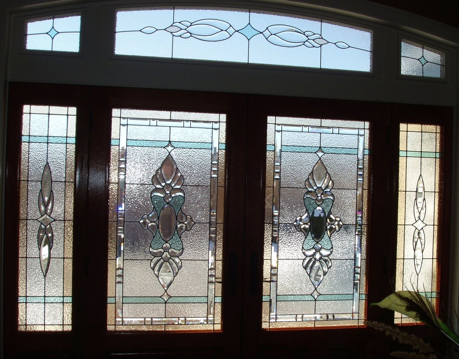 Handmade stained glass elegant front door entry system by for Glass entry doors for home
