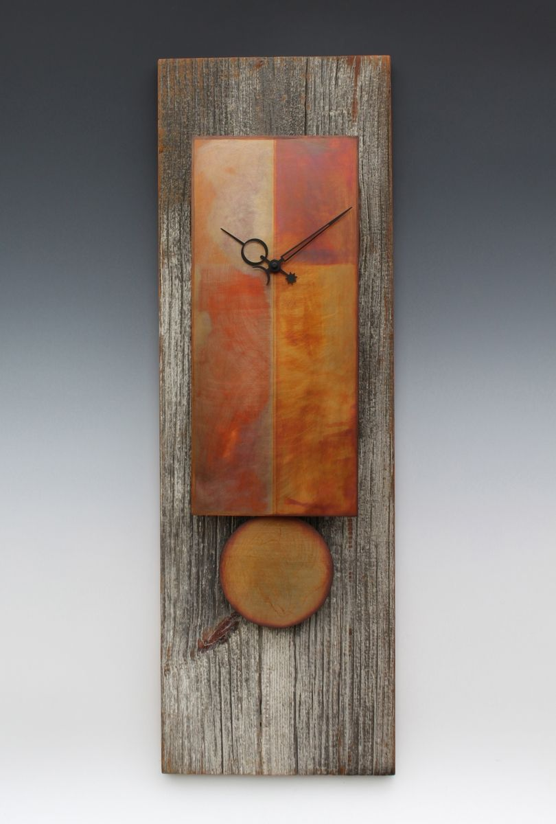 Hand Made Copper Amp Barn Wood Pendulum Clock By Leonie