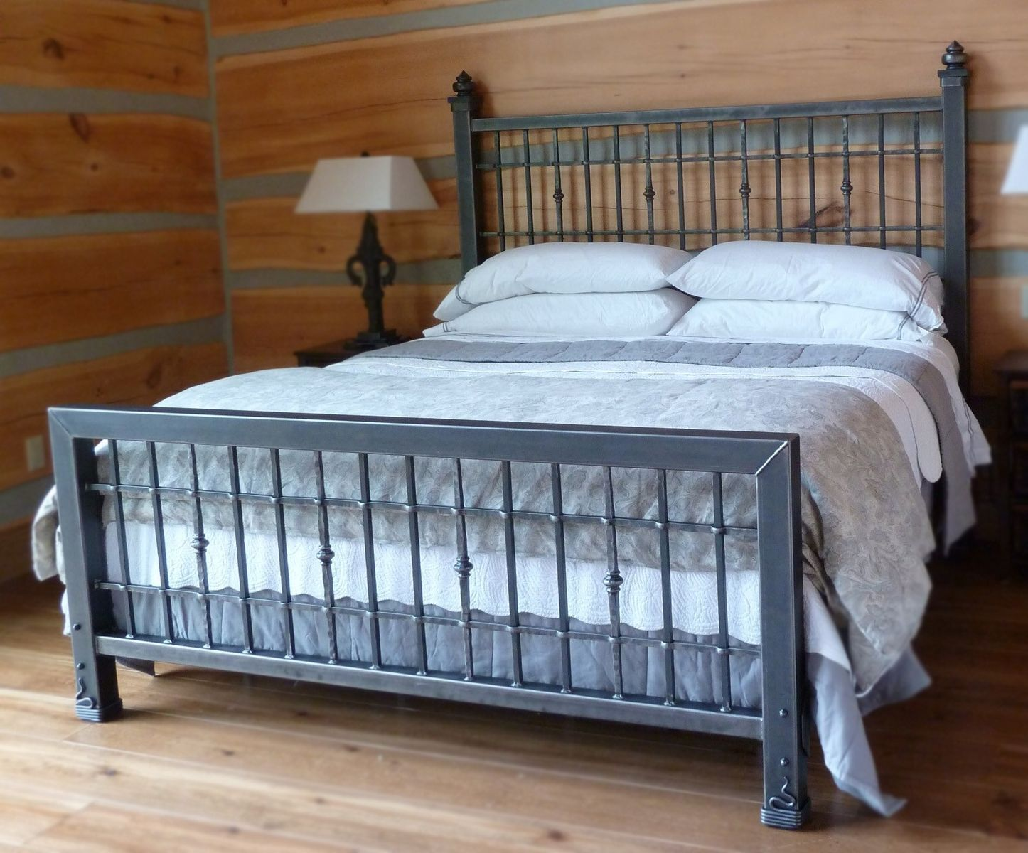 Hand crafted iron king size bed by desiron custom metal for Unique king headboards
