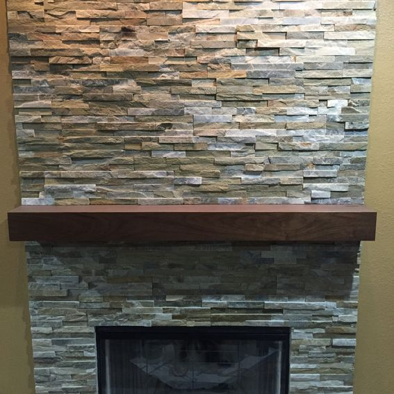 Custom Made Walnut Modern Fireplace Mantel By Custom