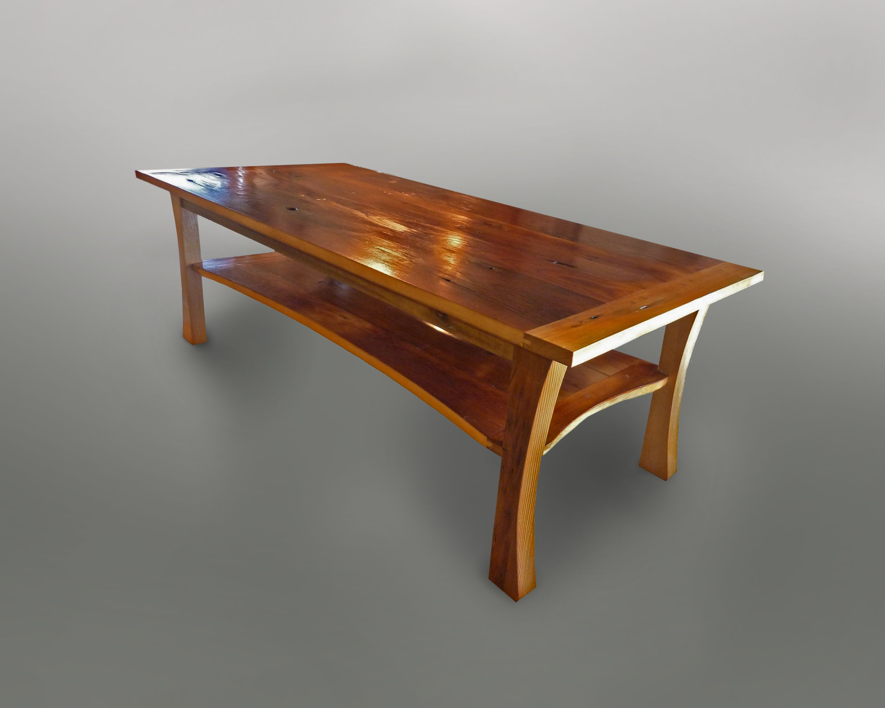 hand made skinny buffalo coffee table by meg thompson art and custom furniture