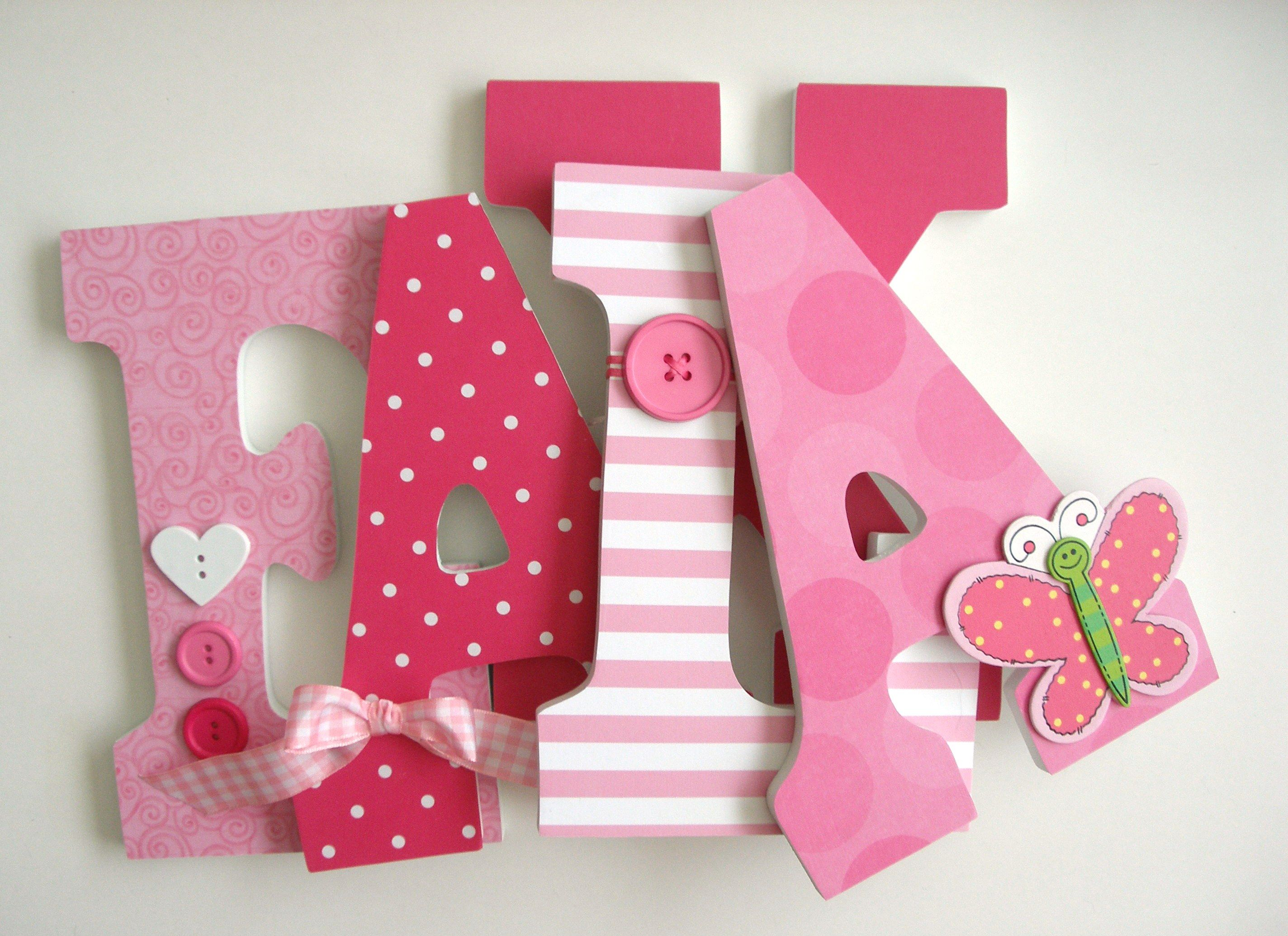 Hand Made Baby Girl Custom Wooden Letters