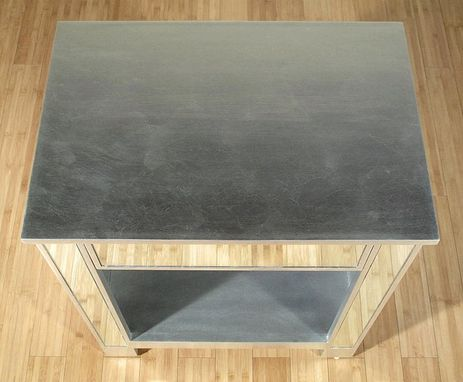 Custom Made Distressed Silver Mirrored Nightstand Side Table