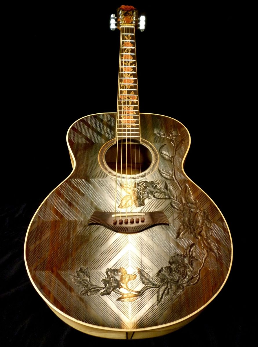 hand made blueberry floral motif acoustic guitar by blueberry musical instruments inc. Black Bedroom Furniture Sets. Home Design Ideas