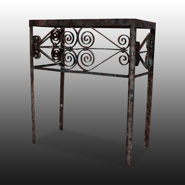 Handmade Wrought Iron Night Table Or Small Console With