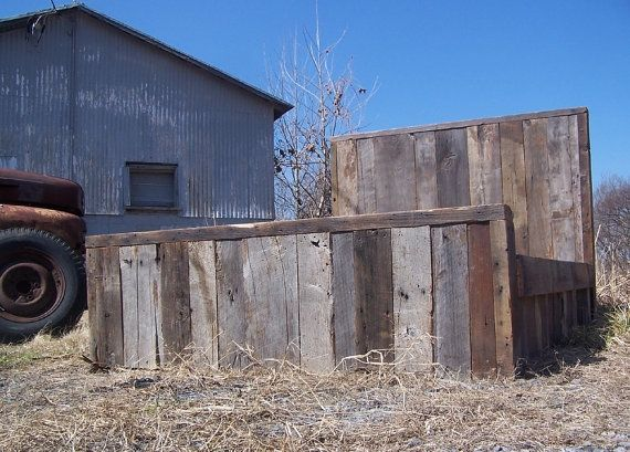 Buy A Hand Made Weathered Grey Reclaimed Barn Wood Bed