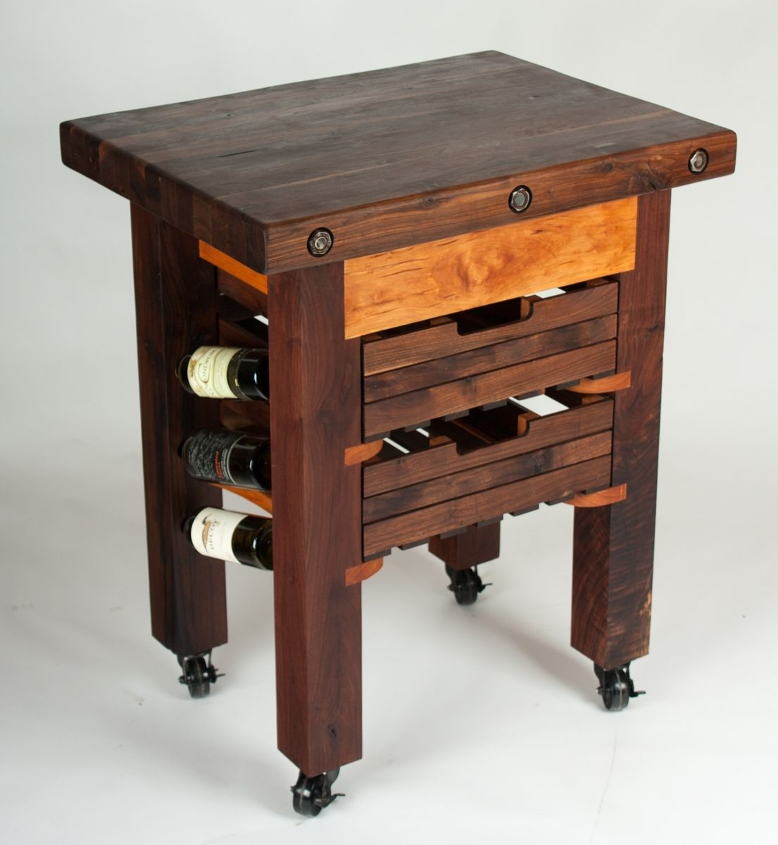 hand made walnut and cherry butcher block island wine rack by walnut wood works. Black Bedroom Furniture Sets. Home Design Ideas