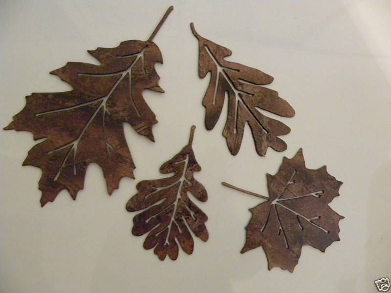 Hand made metal wall art decor leaf accents set of 4 by for Metal leaf wall art