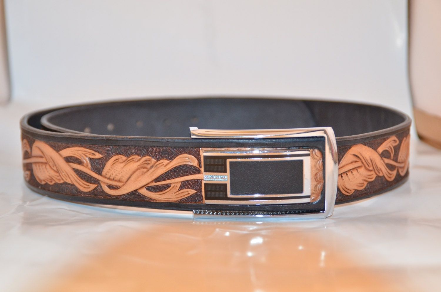 Handmade carved leather belt by rzleathercraft
