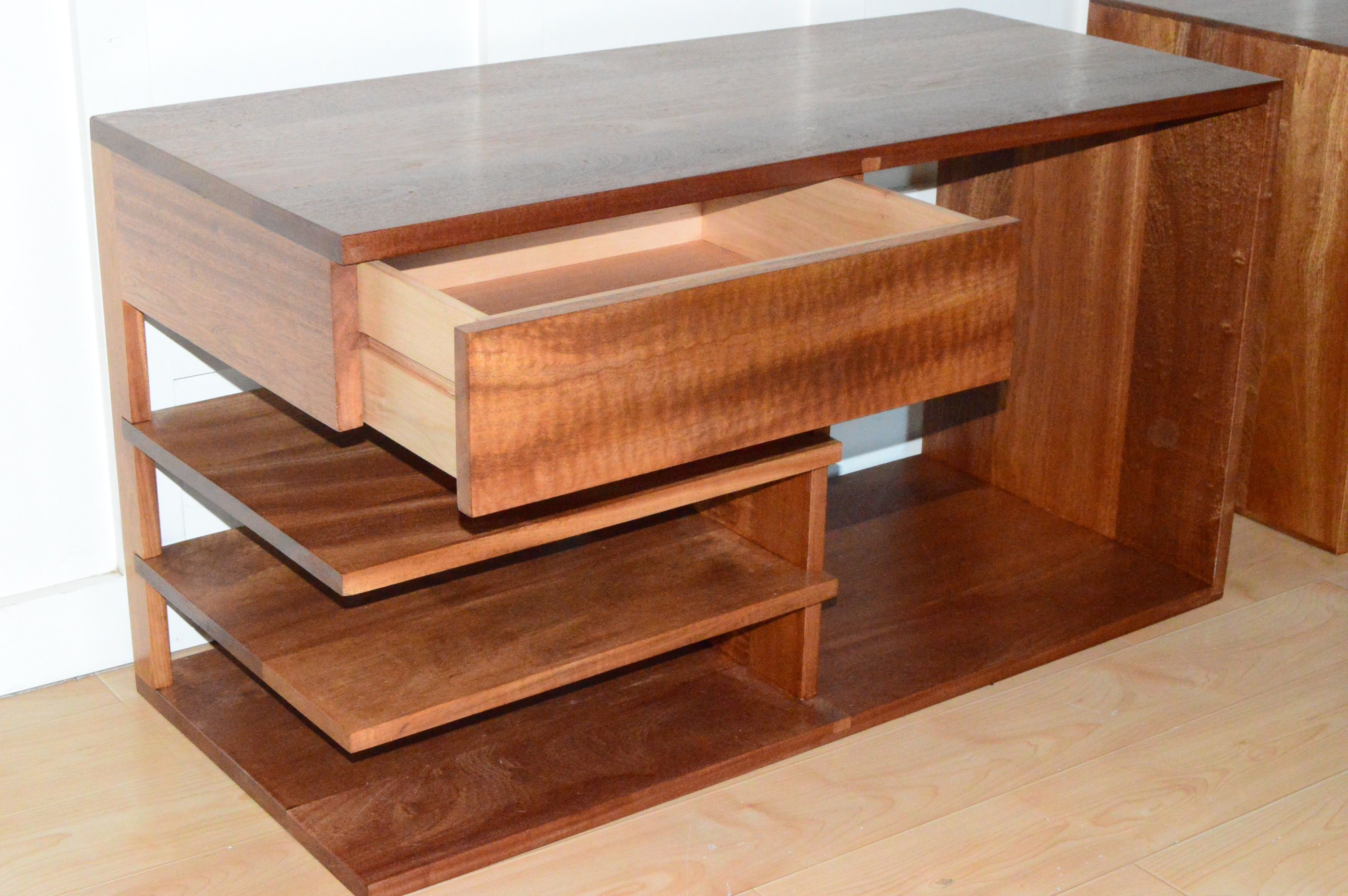 handmade solid sapele nightstand with figured floating drawer and shelves by edelman s wood