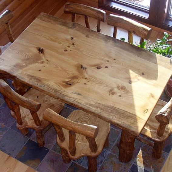 hand made rustic pine log diningroom table and chairs by fbt sawmill