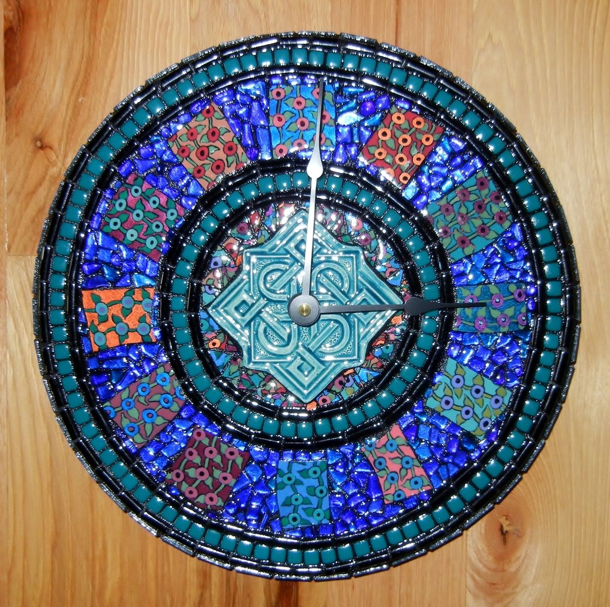 Hand Made Turquoise Black Amp Blue Celtic Mosaic Clock By