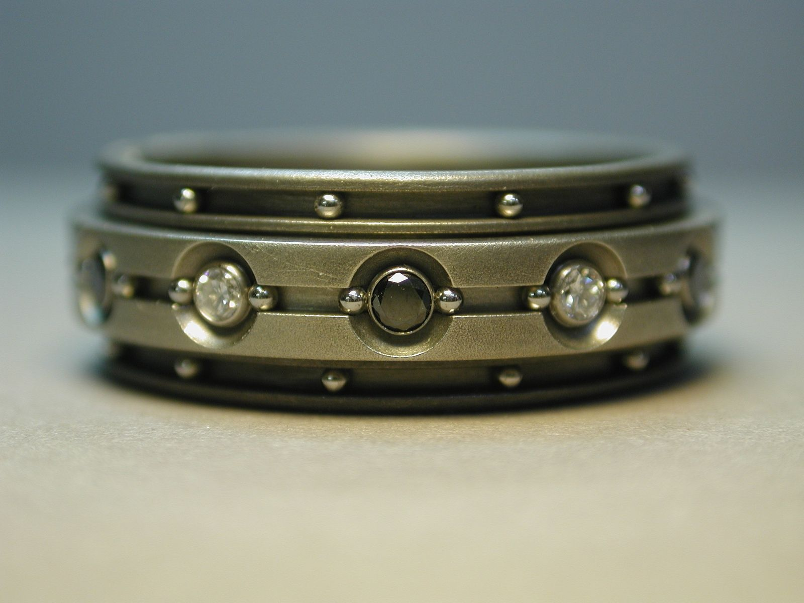 Handmade Black And White Diamond Spinner Ring By Wes