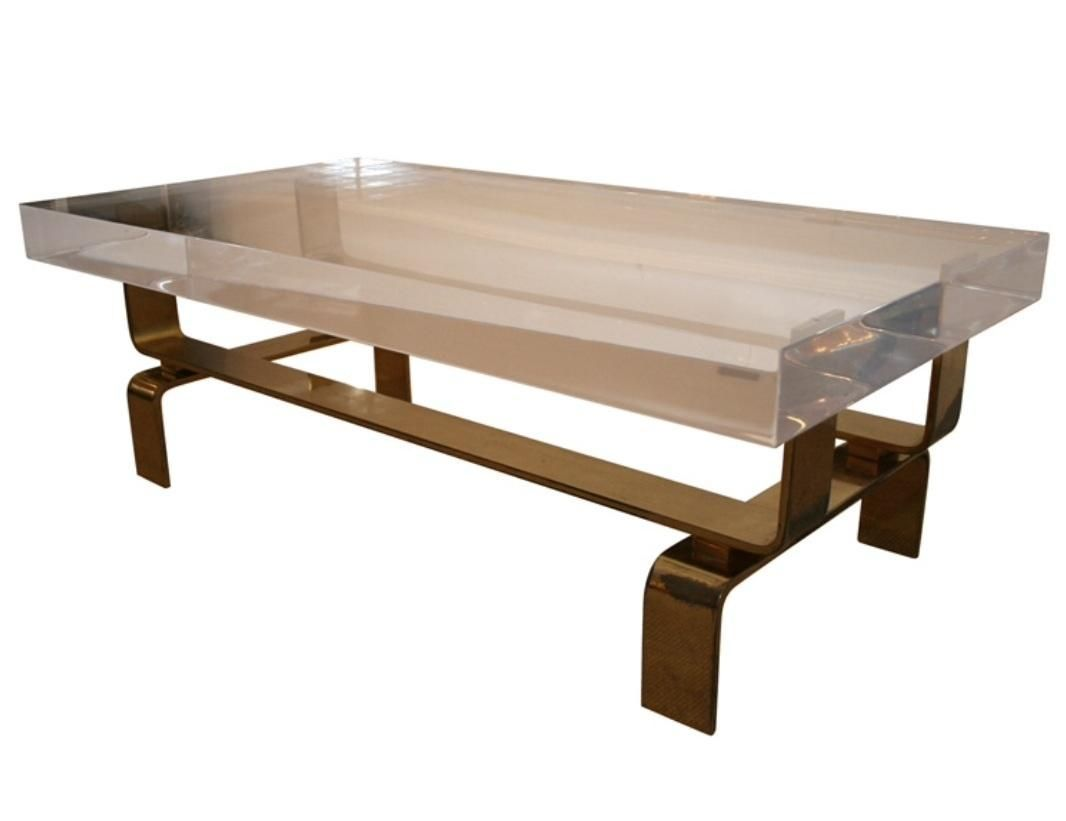 Custom Made Modern Brass And Acrylic Coffee Table By Ck Metalcraft Llc