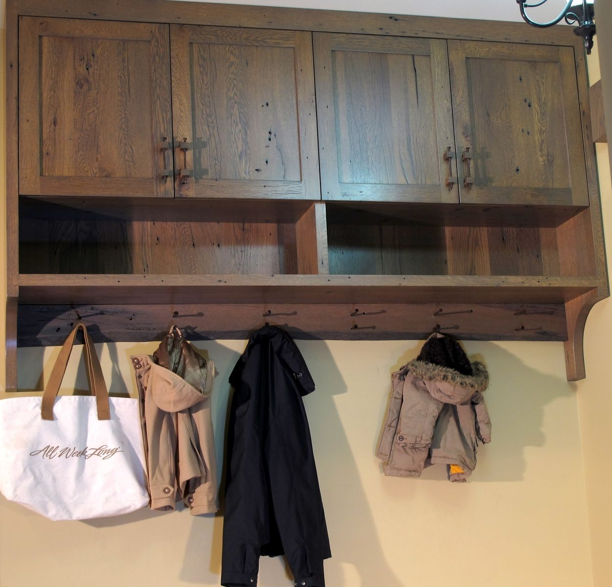 Hand Crafted Rustic Reclaimed Barnwood Entry Cabinet