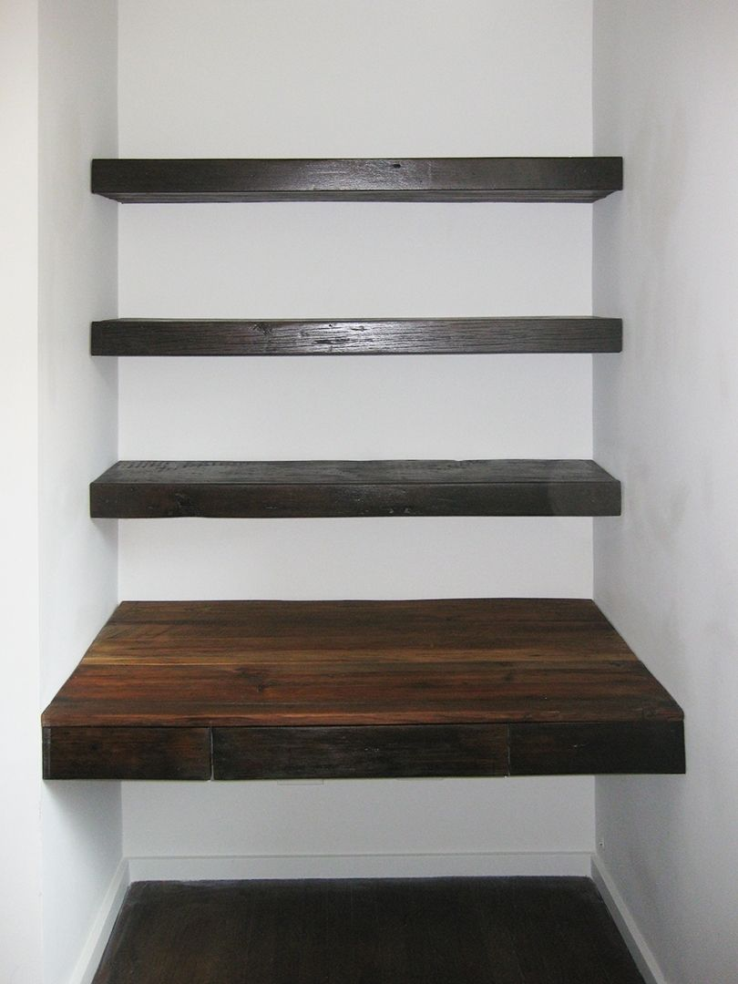 Custom Made Reclaimed Wood Desk And Shelves Construction