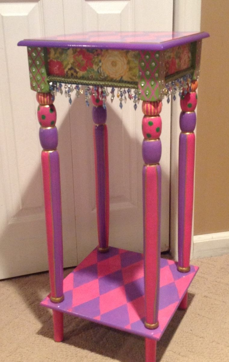Hand Crafted Custom Hand Painted Accent Side Table