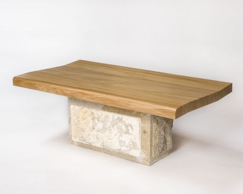Custom Made Elm And Granite Bench