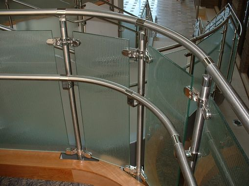 Custom Made Stainless Steel And Fluted Glass Railing