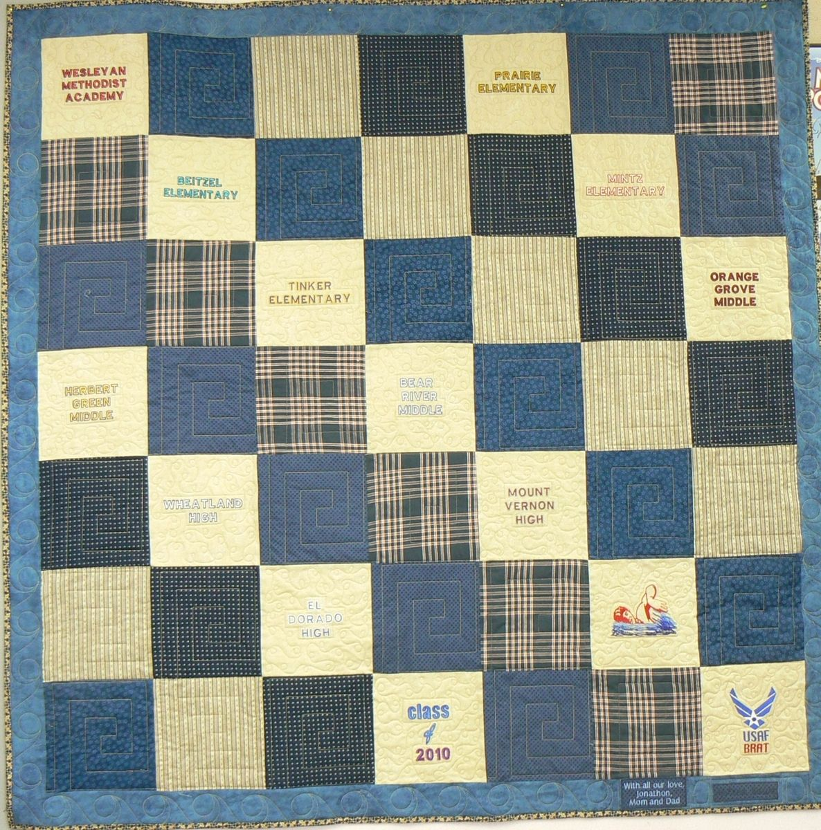 Hand Crafted Custom Graduation Memory Quilt by Arlene s Quilts and Embroidered Pictures ...