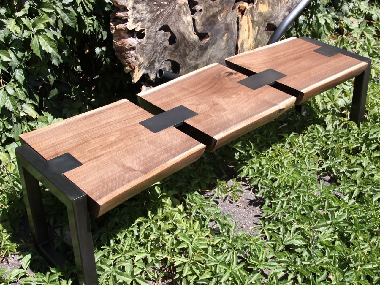 Hand crafted black walnut bench by where wood meets steel