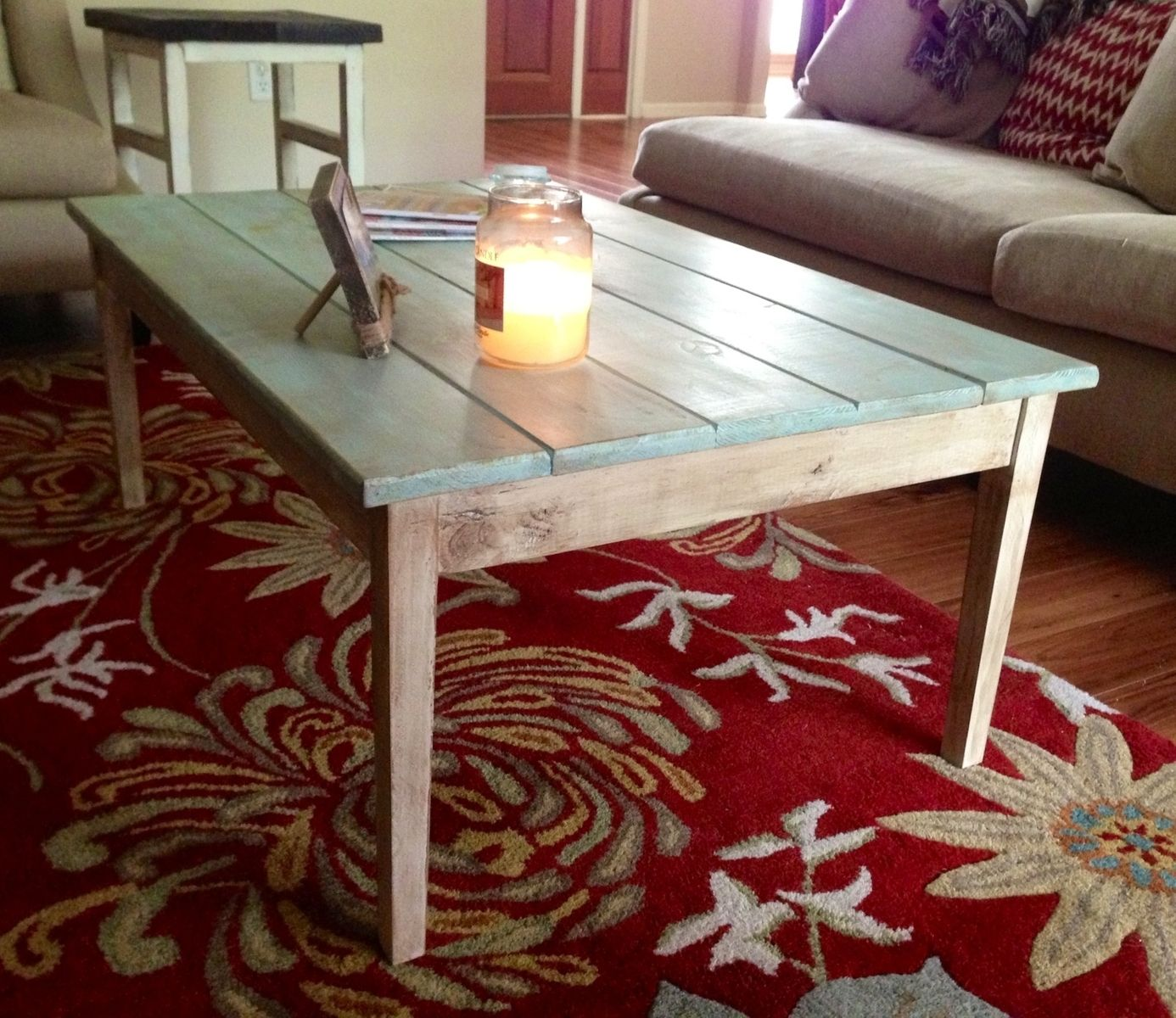 Handmade Antiqued Cottage Style Coffee Table By Deep South Custom Creations