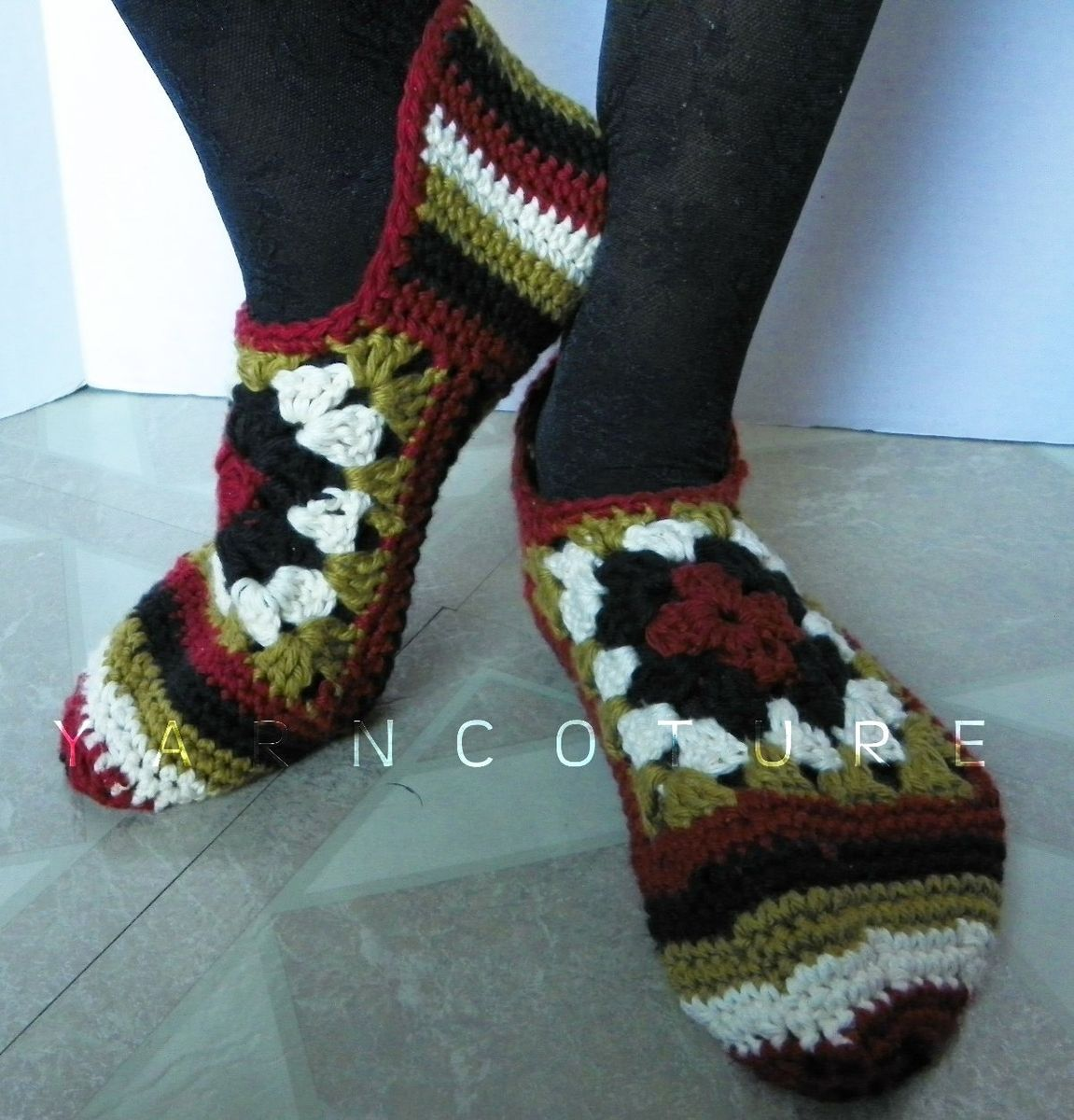 Custom Crocheted Granny Square Slippers Luxuriously Soft