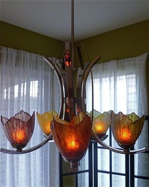 Custom Made Glass And Metal Chandelier, Hand Painted