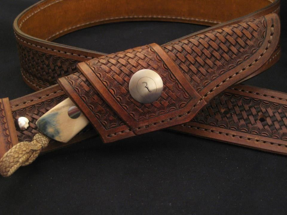 Hand Crafted Horizontal Leather Knife Sheath by Ramos Knives | CustomMade.com