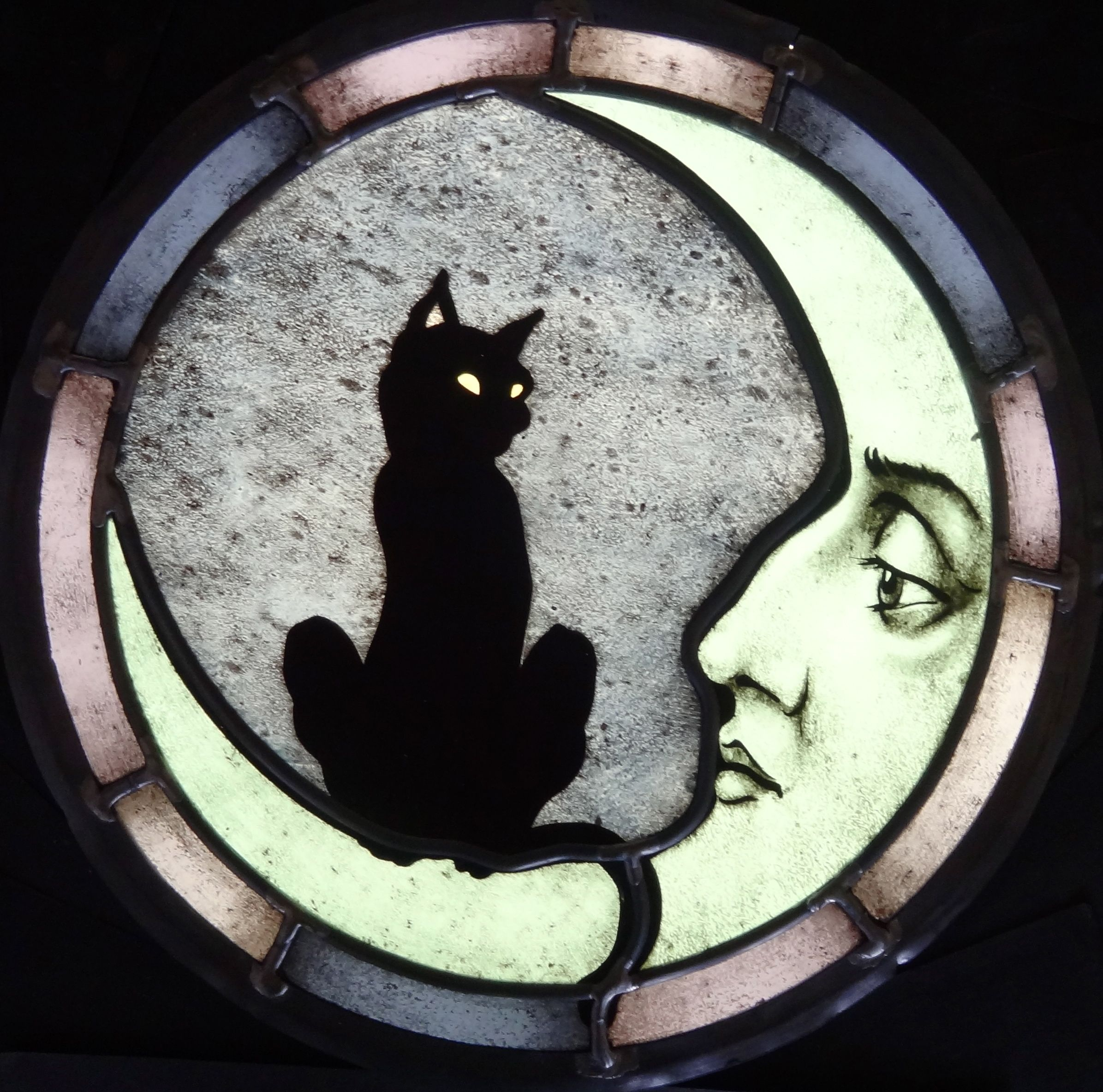Modern Cat Furniture Custom Cat And Moon Stained Glass By Haeuser Heil Studios