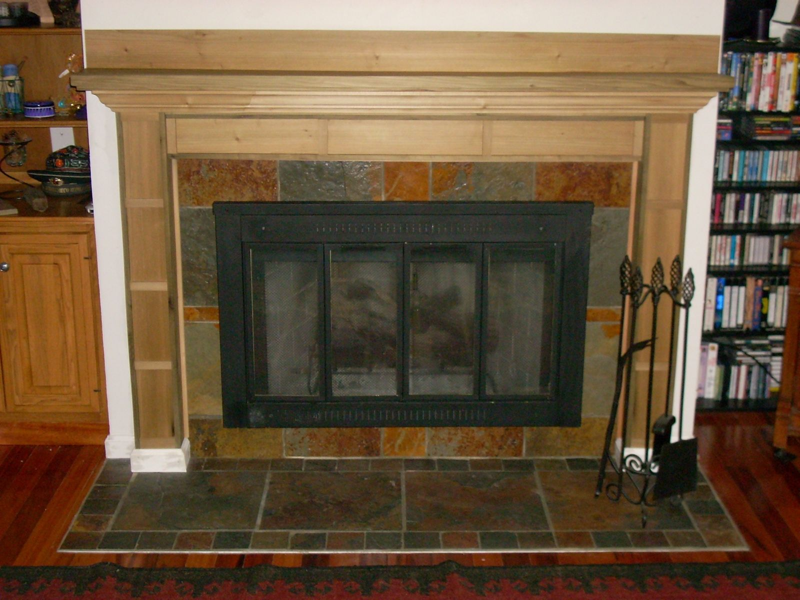 Hand Made Poplar Mantel With Slate Surround Hearth By