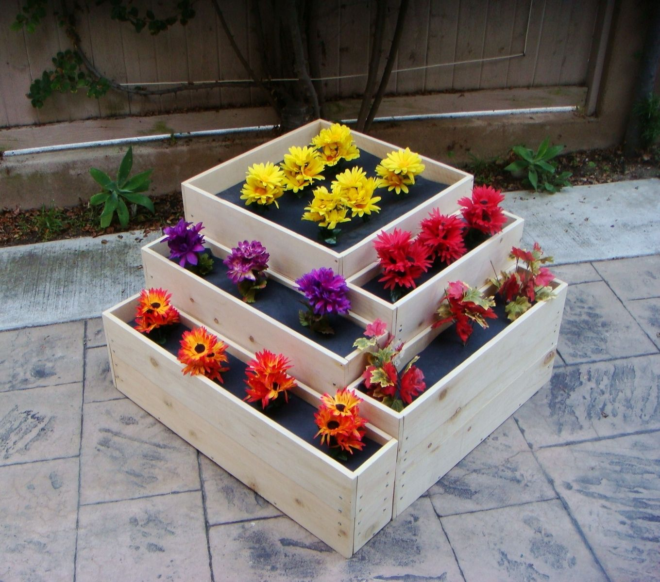 """Made To Measure Bespoke Wooden Planters: Hand Crafted Wood Planter: """"Cascade"""". 36 X 36 X 20 Inch"""