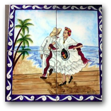"Custom Made ""People Murals"" Hand Painted Ceramic Tile  Murals"