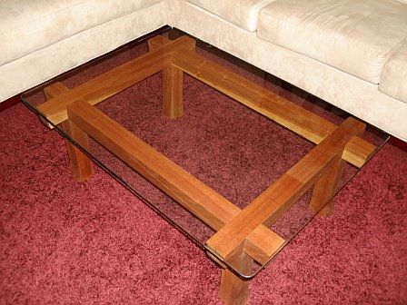 Custom Made Cherry And Glass Coffee Table