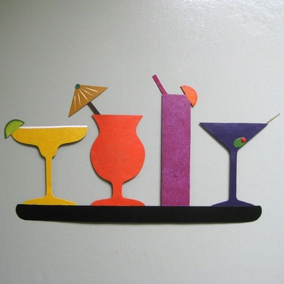 Hand crafted metal art sculpture martini kitchen art for Dining room metal wall art