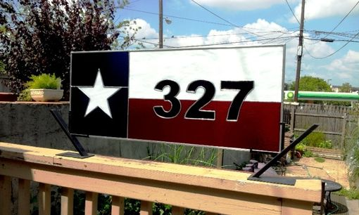 "Custom Made Stained Glass Transom Window - ""The Lone Star State"" / Texas Flag"