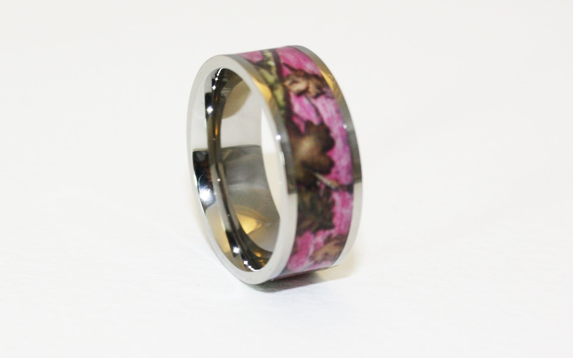 Hand made pink camo wedding ring titanium 8mm band by 1 for Camoflauge wedding rings
