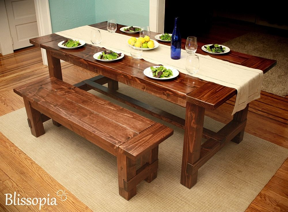 Custom farmhouse dining table by blissopia for Dining room tables handmade