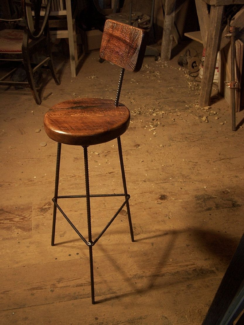 Buy a custom made reclaimed oak bar stools with industrial for Bar madera rustica