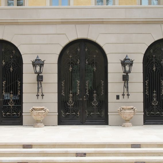 Hand Crafted Hand Forged Wrought Iron Front Entry French Doors Steel Scrolls Bronze Handles By