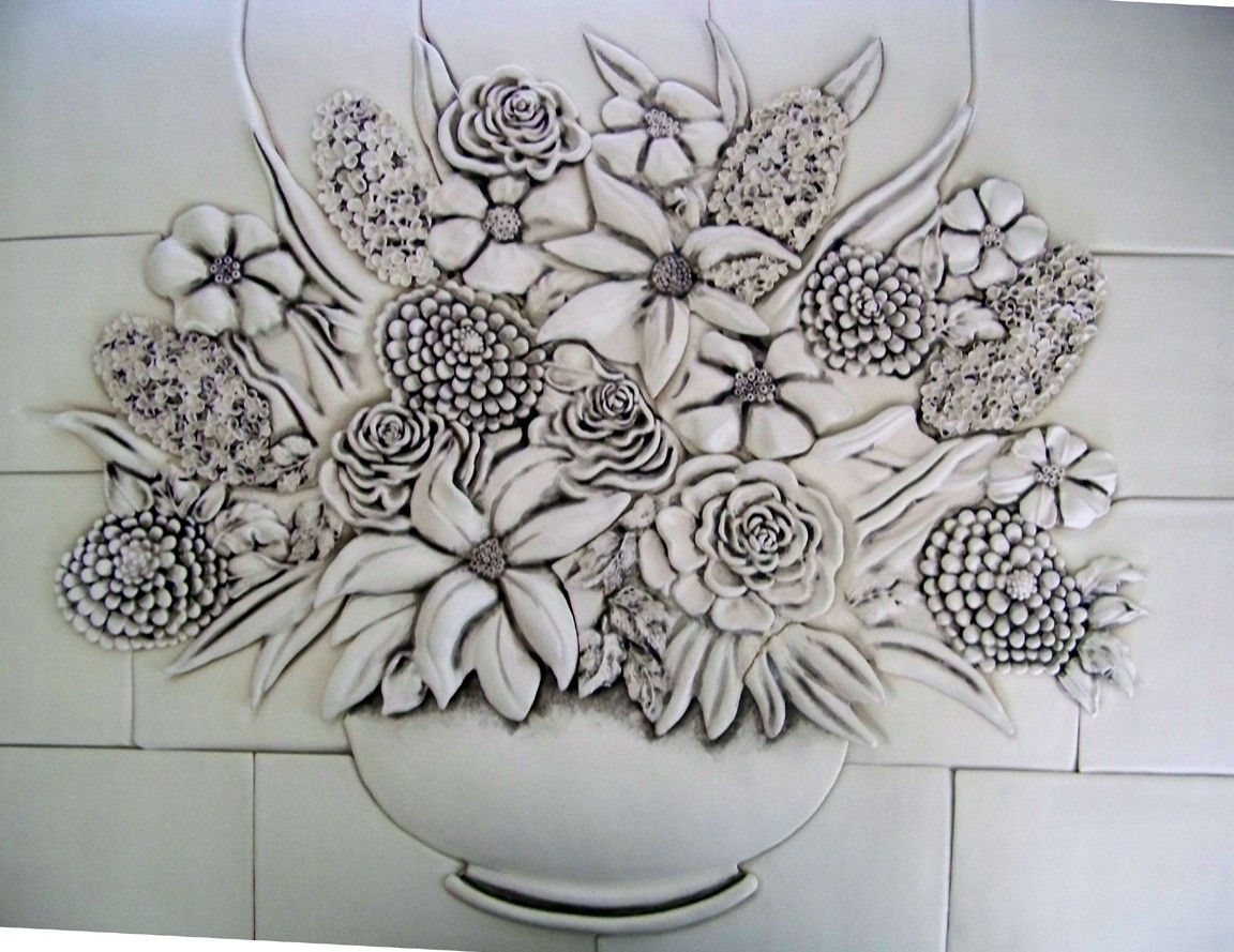 Custom made hand built sculptural 3d floral ceramic tile for Ceramic mural tiles