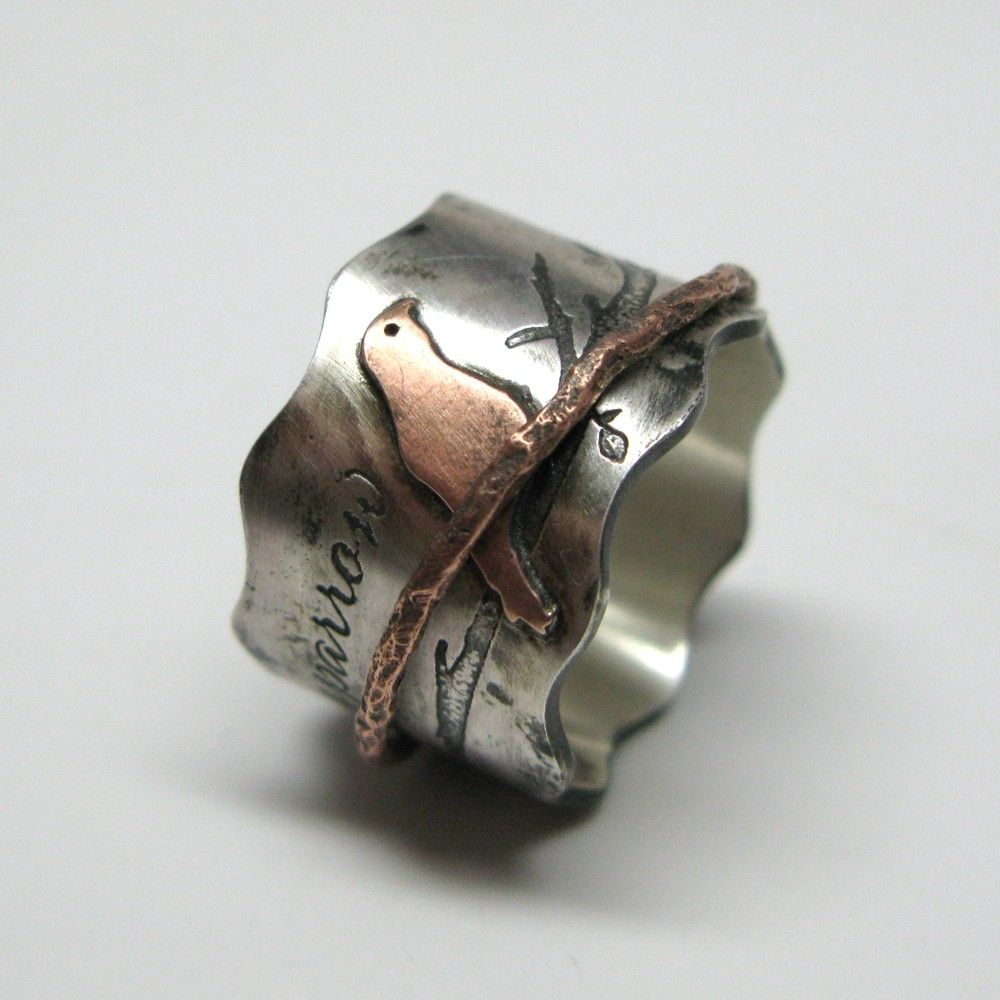 Hand Made Custom Birds On A Branch Spinner Ring By Janice