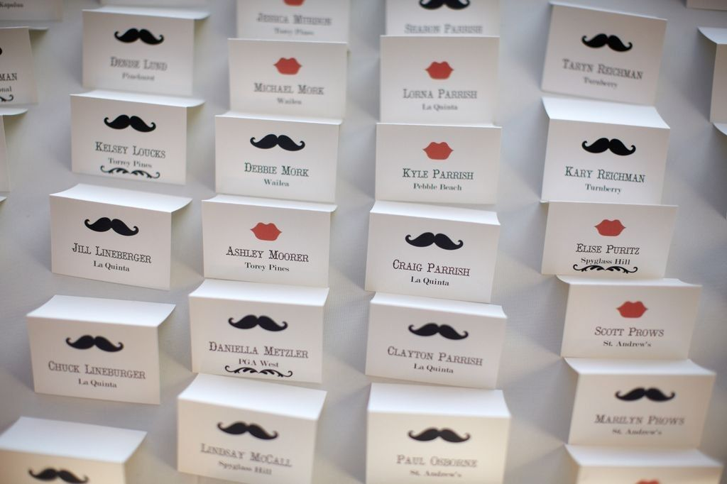 hand made custom wedding place cards mustache and lips