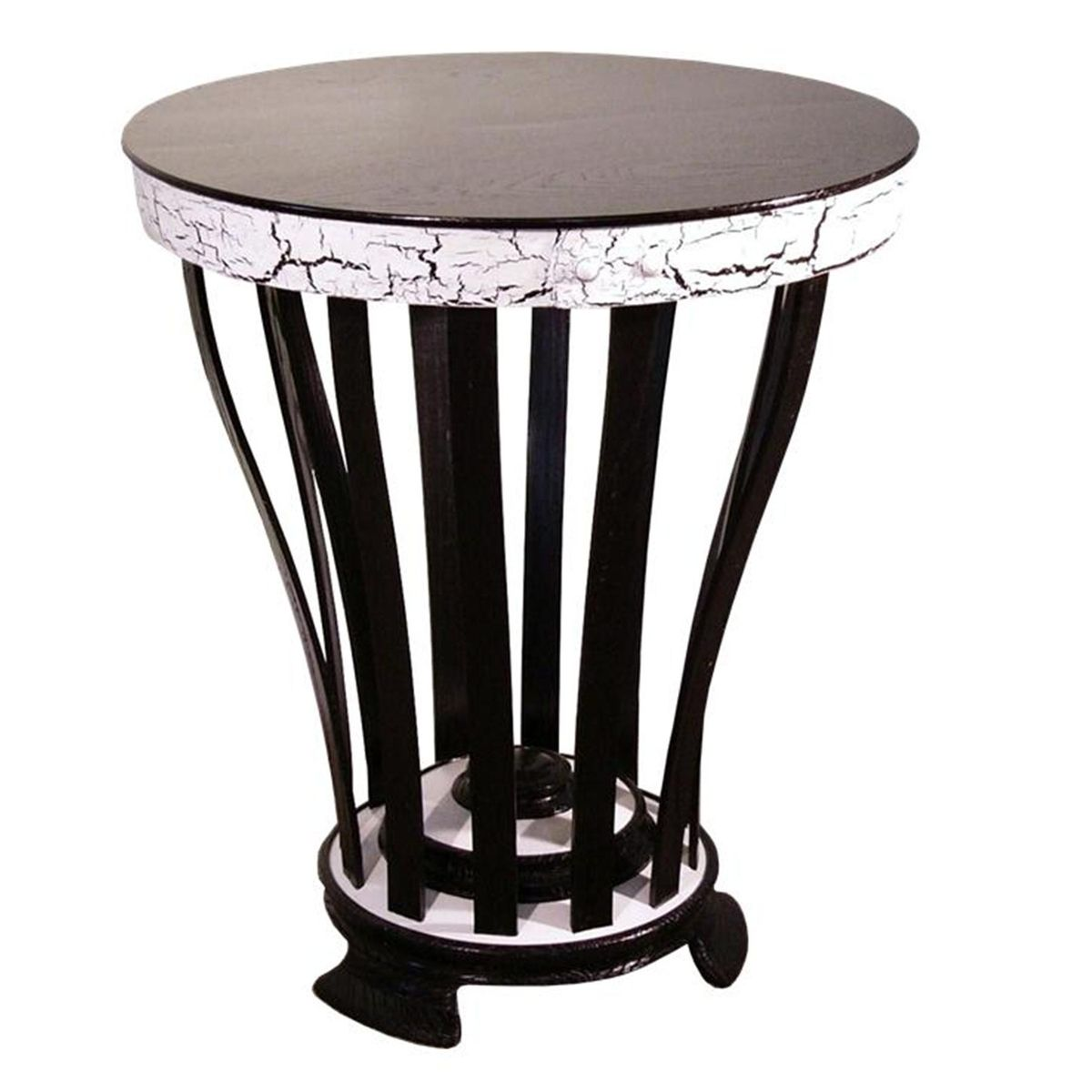 Custom Made Black White Round Side Table By Accent