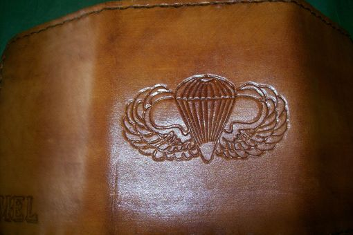 Custom Made Custom Leather Imperial Trifold Wallet With Air Force Logo And Personalization