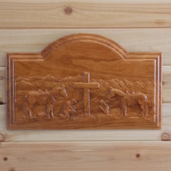 Rustic Motors 3d Custom Made Jewelry Home: Custom Praying Cowboy And Cowgirl Wood Carved Wall Hanging